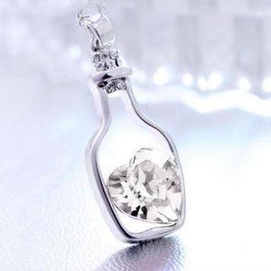 Wishing Bottle Floating CZ Heart Pendant Necklace